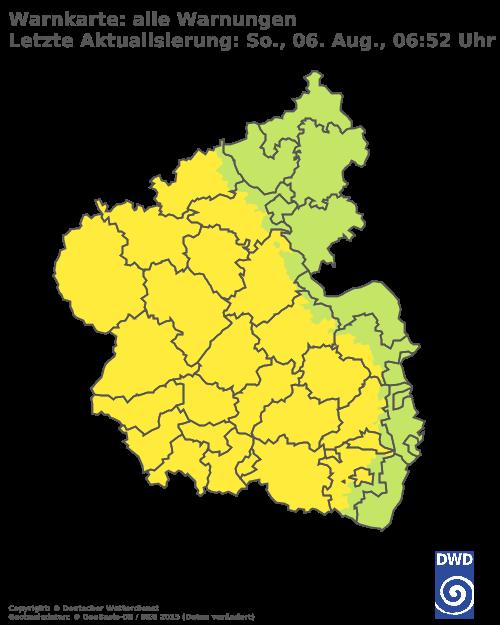 Aktuelle Wetterwarnungen, herausgegeben vom Deutschen Wetterdienst